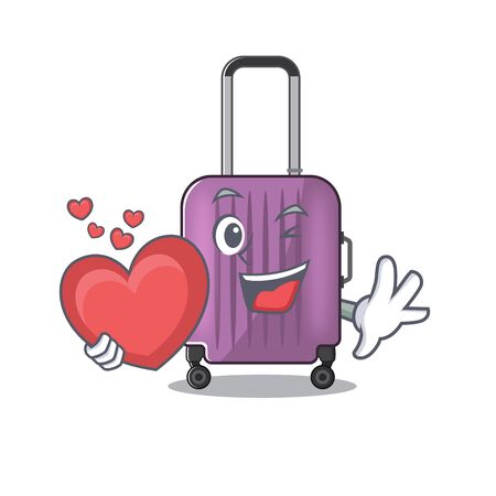 cute travel suitcase the holding heart mascot shape