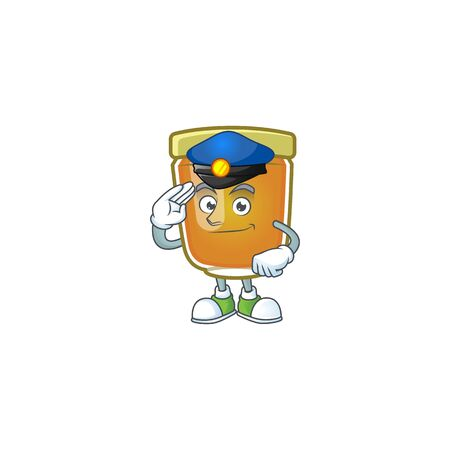 Honey in jar with police character shape. Vector illustration