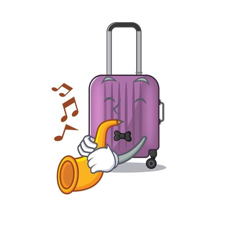 cute travel suitcase the with trumpet mascot shape