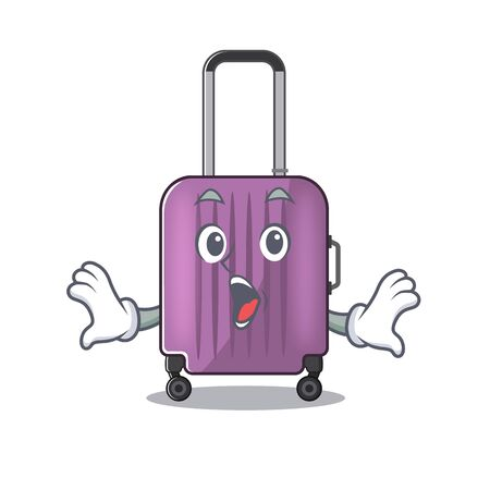 cute travel suitcase the surprised mascot shape Ilustração