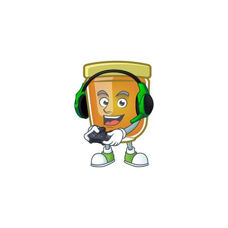 Honey in jar with bring gaming character shape. Vector illustration