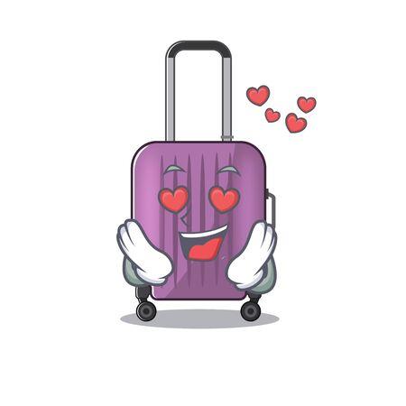 cute travel suitcase the in love mascot shape Ilustração