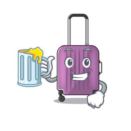 cute travel suitcase the holding juice mascot shape Ilustração