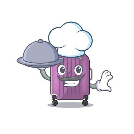 cute travel suitcase the chef holding food mascot shape Ilustração