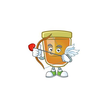 Honey in jar with cupid character shape. Vector illustration