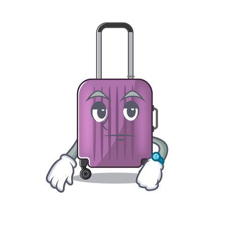Illustration du personnage de dessin animé de valise de voyage mignon en attente