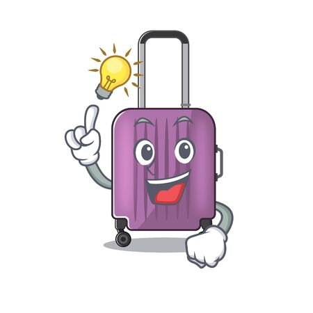 Illustration of cute travel suitcase cartoon character have an idea