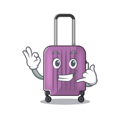 Illustration of cute travel suitcase cartoon character call me