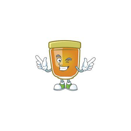 Honey in mascot wink on white background vector illustration 向量圖像