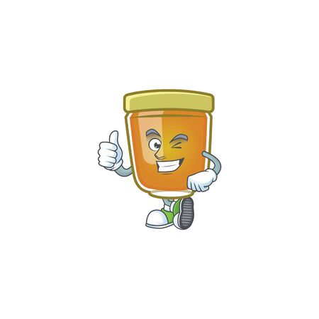 Honey in mascot thumbs up on white background vector illustration