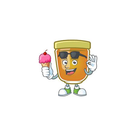 Honey in mascot with ice cream on white background vector illustration Stockfoto - 133448221
