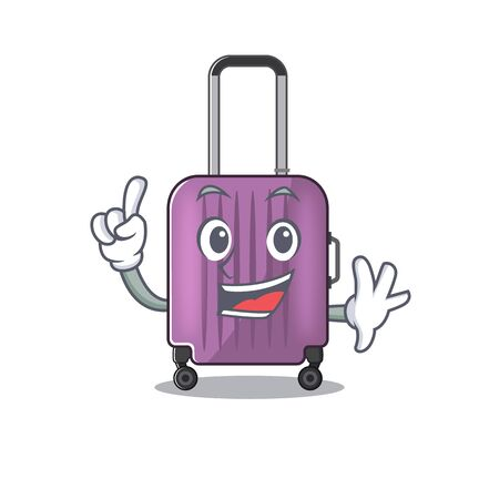 Illustration of cute travel suitcase cartoon character finger