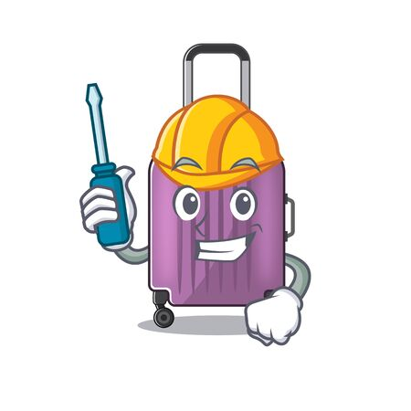 Illustration of cute travel suitcase cartoon character automotive