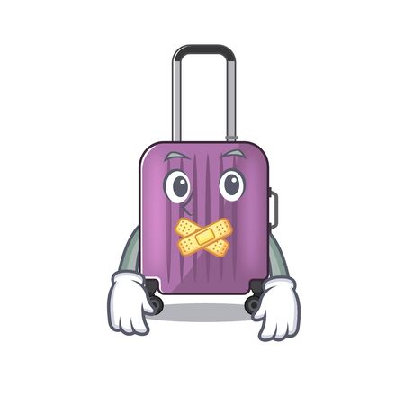 Illustration of cute travel suitcase cartoon character silent 일러스트