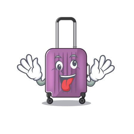 Illustration of cute travel suitcase cartoon character bring gift 向量圖像