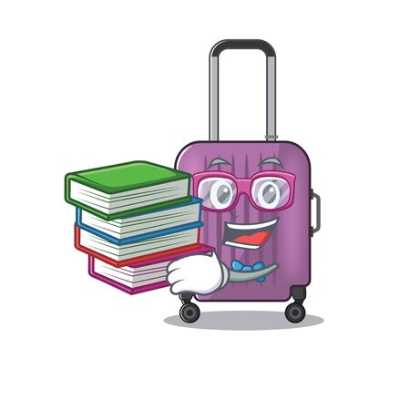 Illustration of cute travel suitcase cartoon character student bring book