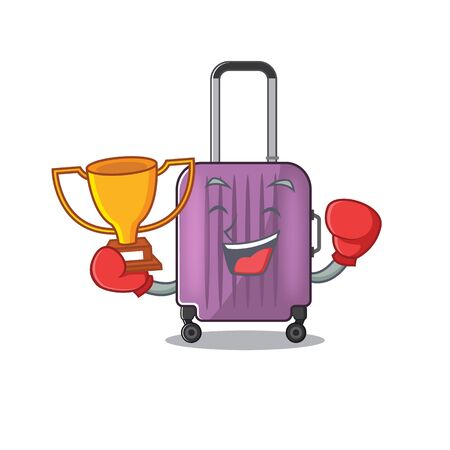 Illustration of cute travel suitcase cartoon character boxing winner