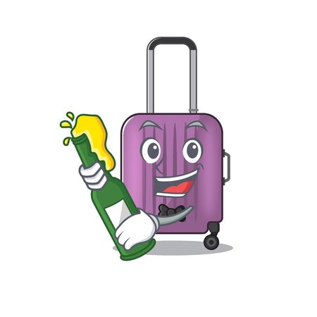 Illustration of cute travel suitcase cartoon character bring beer Illustration