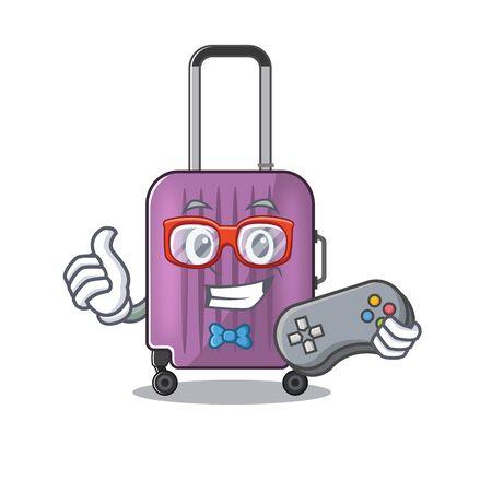 cute travel suitcase the holding gamer mascot shape vector illustration Ilustração