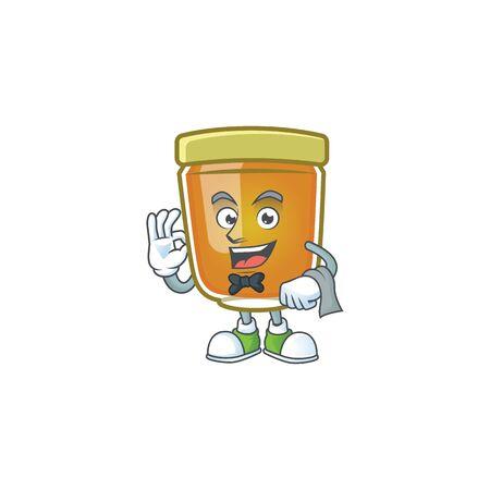Sweet honey in the character mascot waiter vector illustration Ilustração