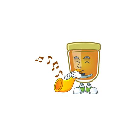 Sweet honey in the character mascot with trumpet vector illustration