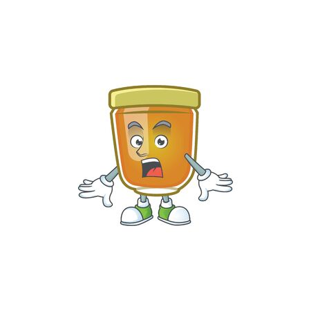 Sweet honey in the character mascot surprised vector illustration