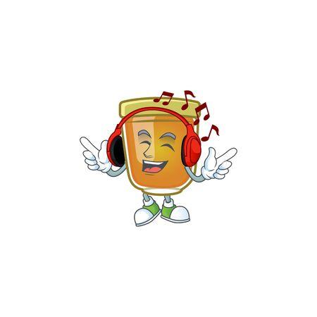 Sweet honey in the character mascot listening music vector illustration