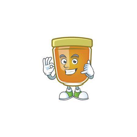 Liquid honey cartoon character with mascot call me vector illustration