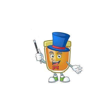 Liquid honey cartoon character with mascot magician vector illustration