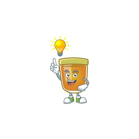 Liquid honey cartoon character with mascot have an idea vector illustration