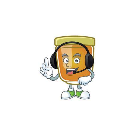 Liquid honey cartoon character with mascot with headphone vector illustration