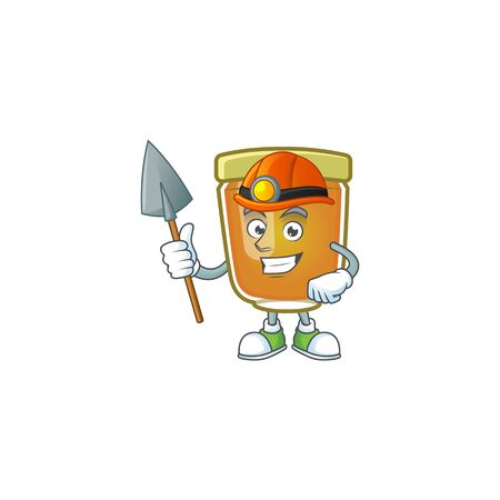 Sweet honey in the character mascot miner vector illustration