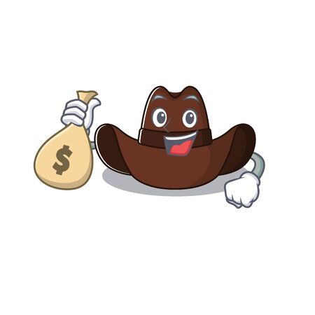 holding money bag cowboy hat isolated in the mascot vector illustration 일러스트