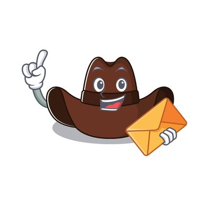 Cheerful on cowboy hat bring envelope cartoon character