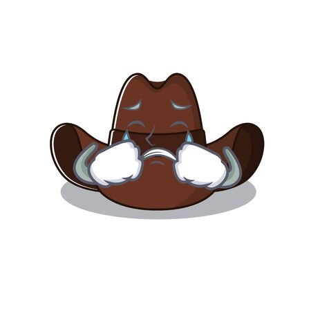 Mascot illustration the featuring cowboy hat crying