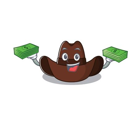 Mascot illustration the featuring cowboy hat holding money vector illustration