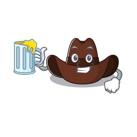 Mascot illustration the featuring cowboy hat holding juice  イラスト・ベクター素材