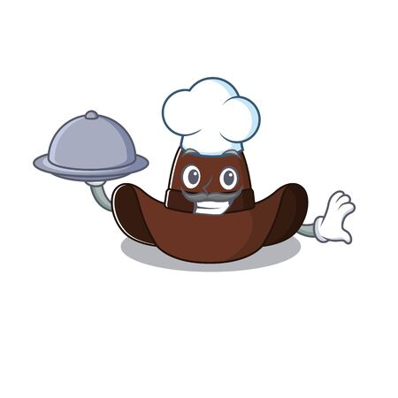 Mascot illustration the featuring cowboy hat chef holding food