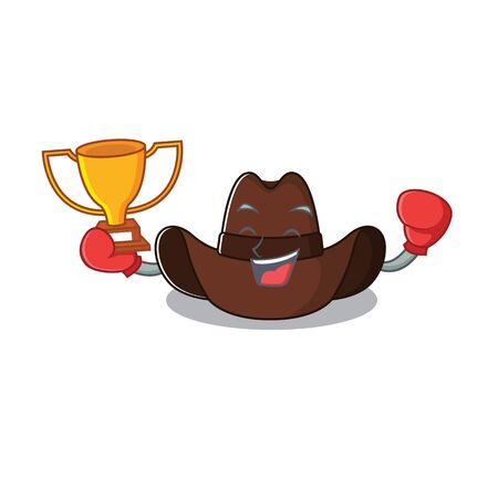 cowboy hat boxing winner with the cartoon character