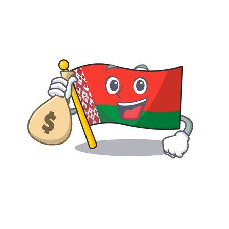 flag belarus in the cartoon shape holding money bag 일러스트