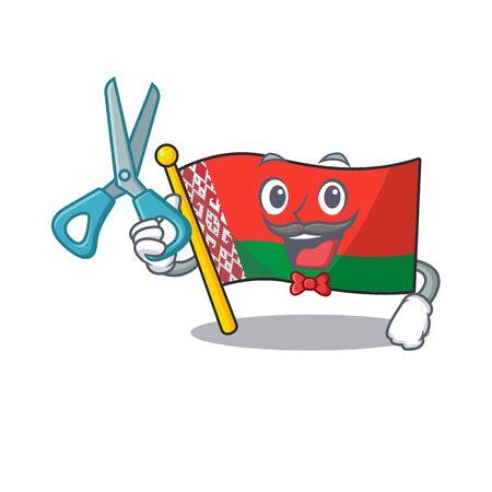 flag belarus in the cartoon shape barber