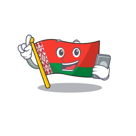 with holding phone flag belarus in the cartoon shape vector illustartion 写真素材 - 133560092