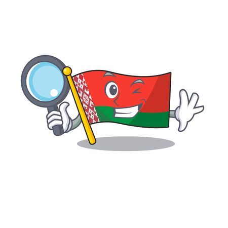 Smiling detective flag belarus cartoon character style vector illustration