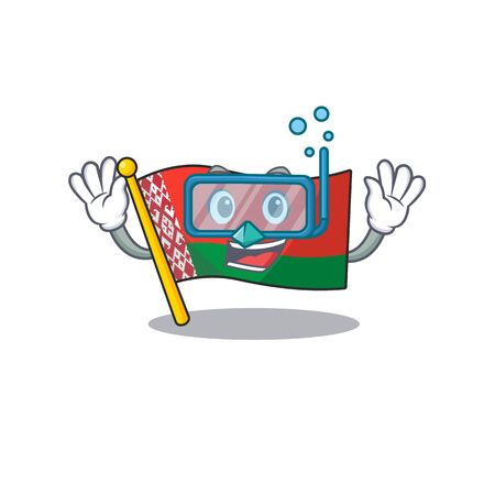 Smiling diving flag belarus cartoon character style