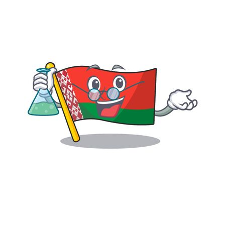 Smiling professor flag belarus cartoon character style