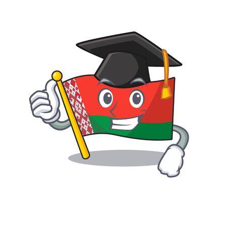 Smiling graduation hat flag belarus cartoon character style Ilustração