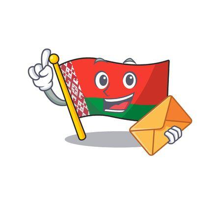 Smiling bring envelope flag belarus cartoon character style