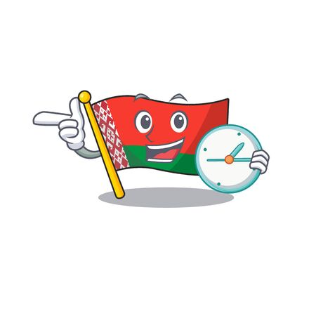 Smiling with bring clock flag belarus cartoon character style