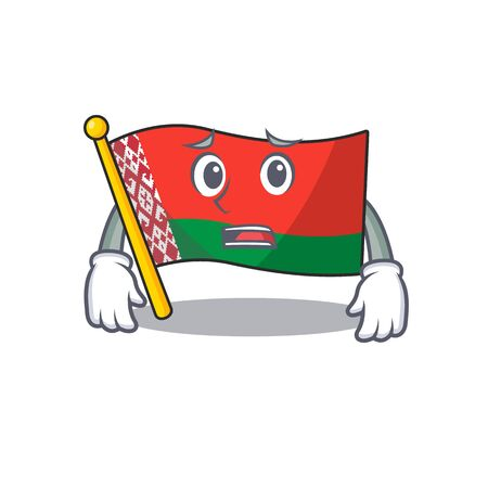 flag belarus isolated with the afraid cartoon vector illustration