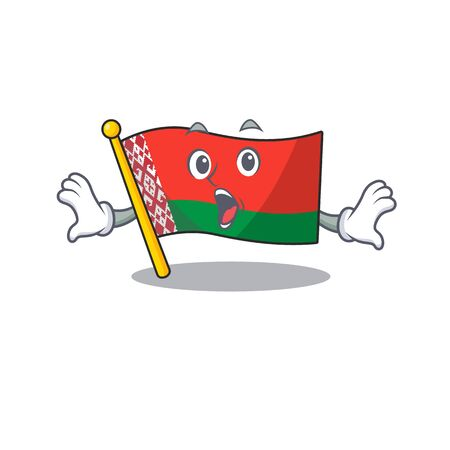 flag belarus isolated with the surprised cartoon vector illustration